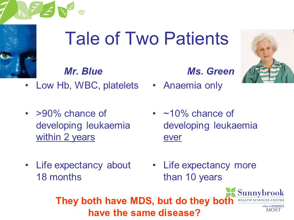 Tale of Two Patients Mr. Blue Low Hb, WBC, platelets >90% chance of developing leukaemia within 2 years Life expectancy about 18 months Ms. Green Anae