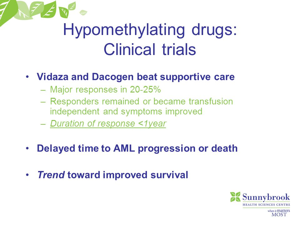 Hypomethylating drugs: Clinical trials Vidaza and Dacogen beat supportive care –Major responses in 20-25% –Responders remained or became transfusion i