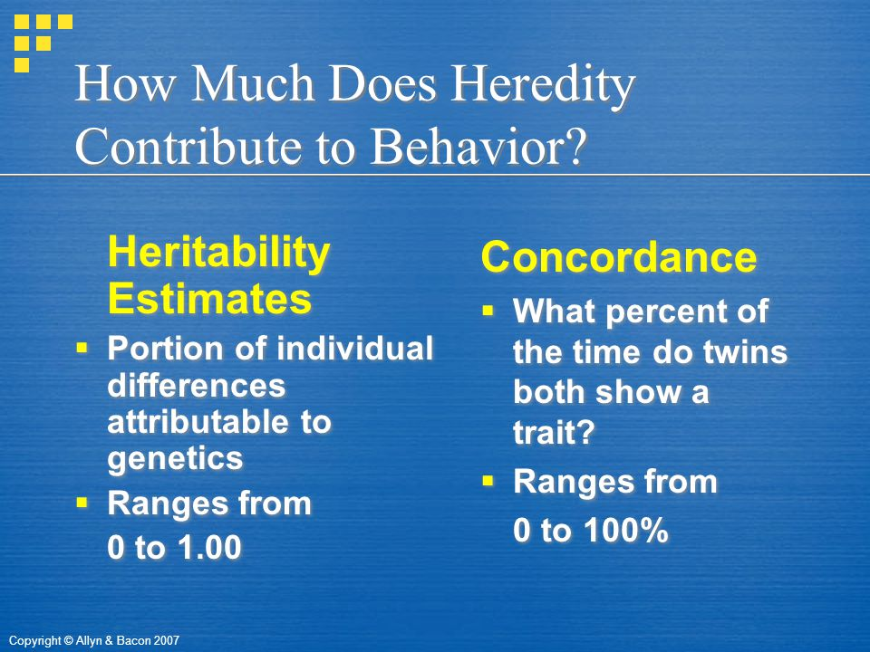 Copyright © Allyn & Bacon 2007 How Much Does Heredity Contribute to Behavior.