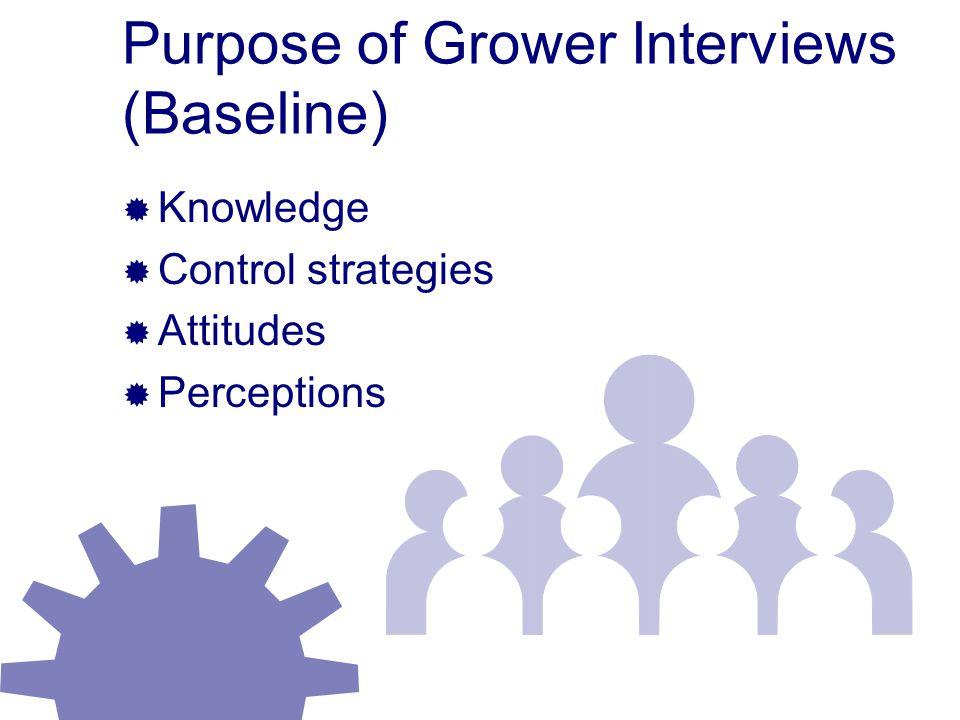 Purpose of Grower Interviews (Baseline)  Knowledge  Control strategies  Attitudes  Perceptions