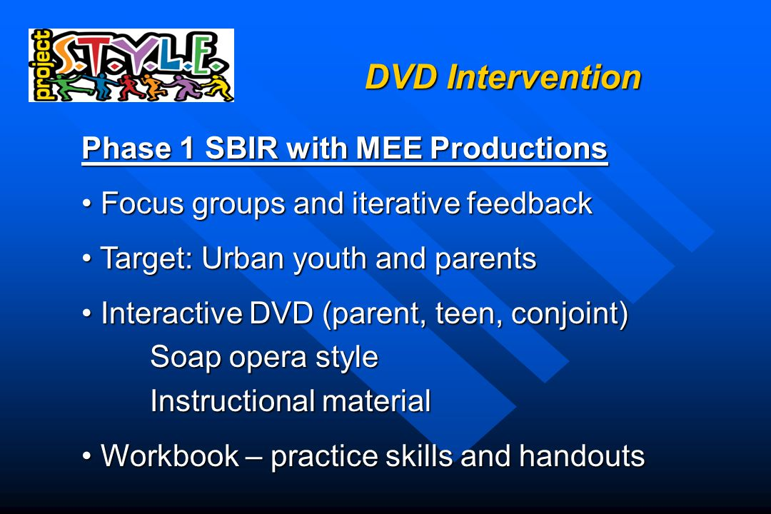 DVD Intervention Phase 1 SBIR with MEE Productions Focus groups and iterative feedback Focus groups and iterative feedback Target: Urban youth and parents Target: Urban youth and parents Interactive DVD (parent, teen, conjoint) Interactive DVD (parent, teen, conjoint) Soap opera style Instructional material Workbook – practice skills and handouts Workbook – practice skills and handouts