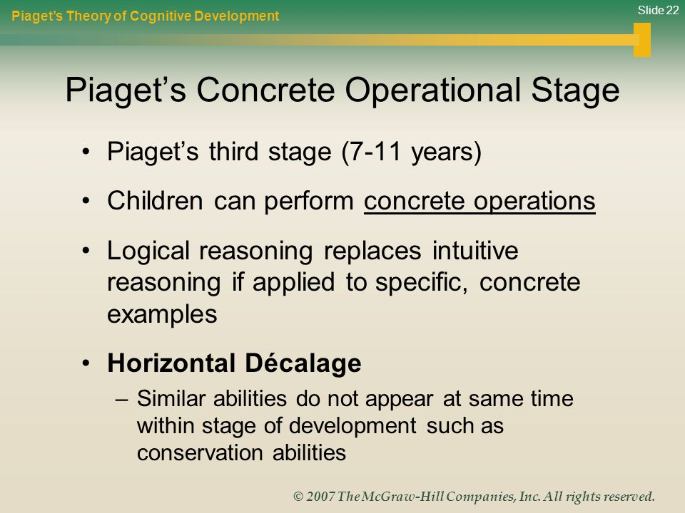 Slide 22 © 2007 The McGraw-Hill Companies, Inc. All rights reserved. Piaget's Concrete Operational Stage Piaget's third stage (7-11 years) Children ca