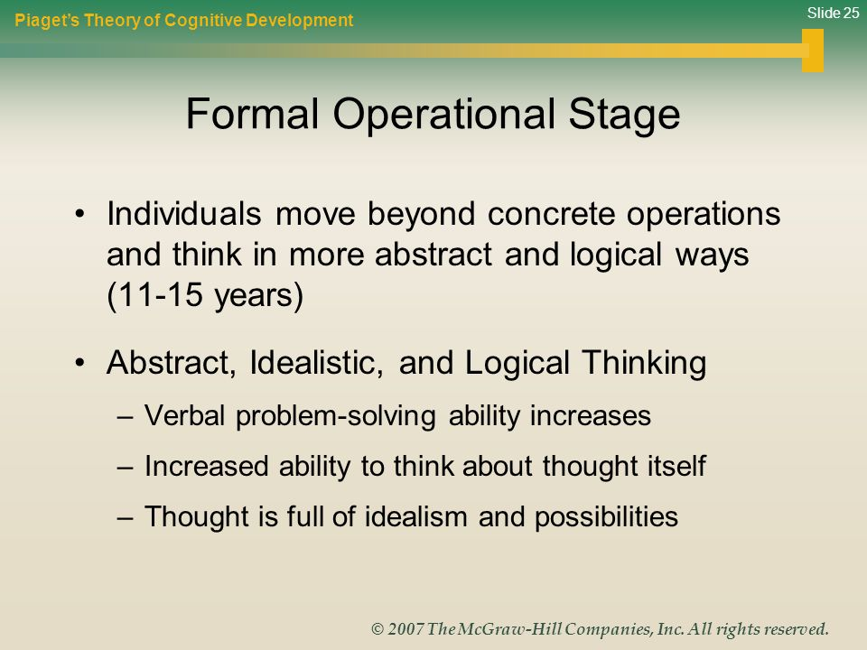 Slide 25 © 2007 The McGraw-Hill Companies, Inc. All rights reserved. Formal Operational Stage Individuals move beyond concrete operations and think in