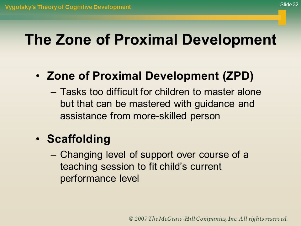 Slide 32 © 2007 The McGraw-Hill Companies, Inc. All rights reserved. The Zone of Proximal Development Zone of Proximal Development (ZPD) –Tasks too di