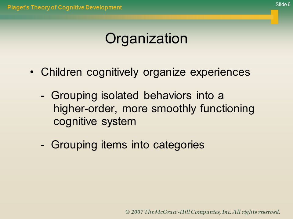 Slide 6 © 2007 The McGraw-Hill Companies, Inc. All rights reserved. Organization Children cognitively organize experiences - Grouping isolated behavio