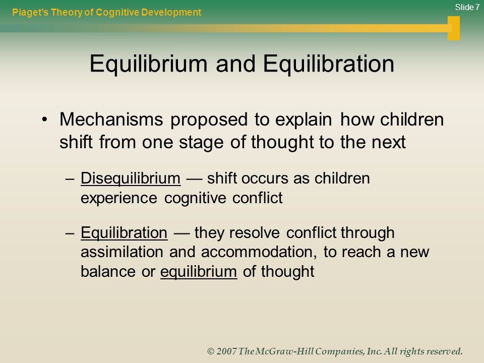 Slide 7 © 2007 The McGraw-Hill Companies, Inc. All rights reserved. Equilibrium and Equilibration Mechanisms proposed to explain how children shift fr