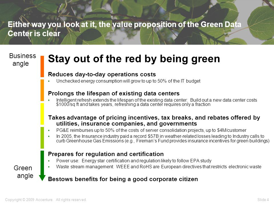 Slide 4 Either way you look at it, the value proposition of the Green Data Center is clear Stay out of the red by being green Reduces day-to-day operations costs  Unchecked energy consumption will grow to up to 50% of the IT budget Prolongs the lifespan of existing data centers  Intelligent refresh extends the lifespan of the existing data center: Build out a new data center costs $1000/sq ft and takes years, refreshing a data center requires only a fraction Takes advantage of pricing incentives, tax breaks, and rebates offered by utilities, insurance companies, and governments  PG&E reimburses up to 50% of the costs of server consolidation projects, up to $4M/customer  In 2005, the Insurance industry paid a record $57B in weather-related losses leading to Industry calls to curb Greenhouse Gas Emissions (e.g., Fireman's Fund provides insurance incentives for green buildings) Prepares for regulation and certification  Power use: Energy star certification and regulation likely to follow EPA study  Waste stream management: WEEE and RoHS are European directives that restricts electronic waste Bestows benefits for being a good corporate citizen Business angle Green angle Copyright © 2009 Accenture.