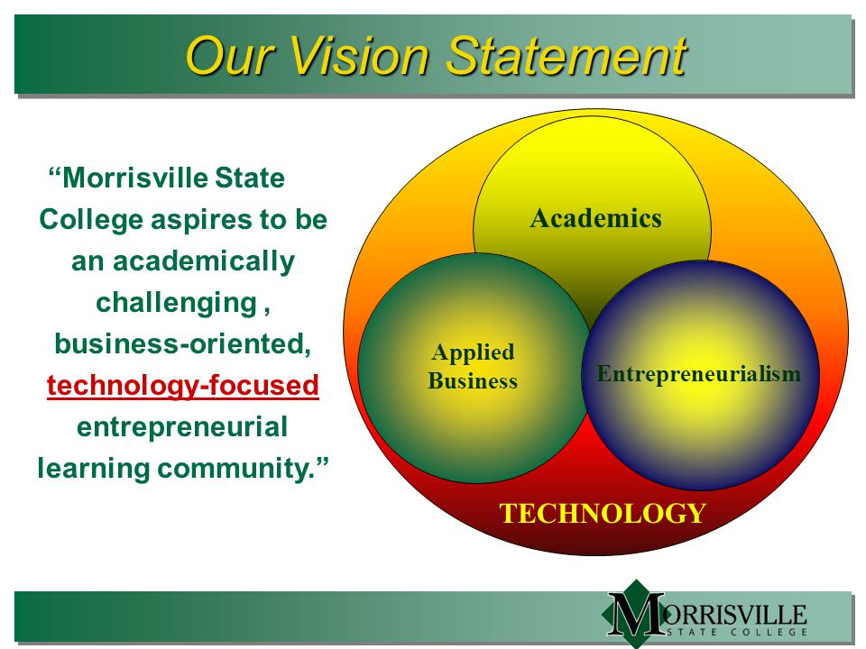 TECHNOLOGY Our Vision Statement Morrisville State College aspires to be an academically challenging, business-oriented, technology-focused entrepreneurial learning community. Academics Applied Business Entrepreneurialism