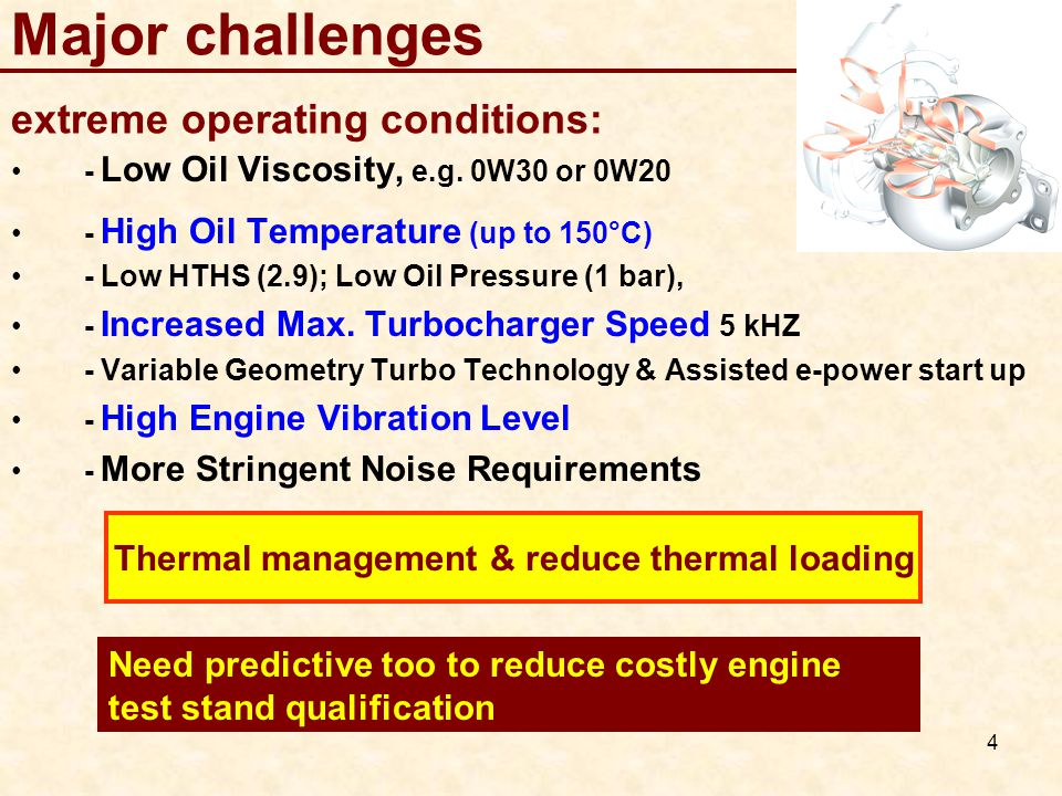 4 Major challenges extreme operating conditions: - Low Oil Viscosity, e.g.
