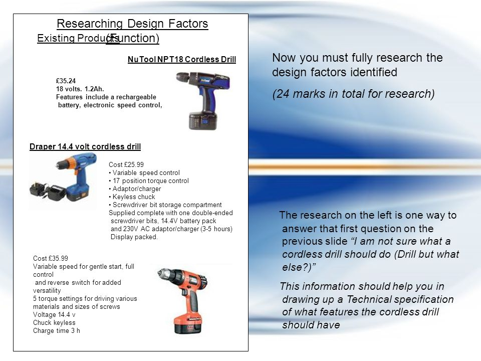 Now choose 5 design factors that you think are important to the design of this product.