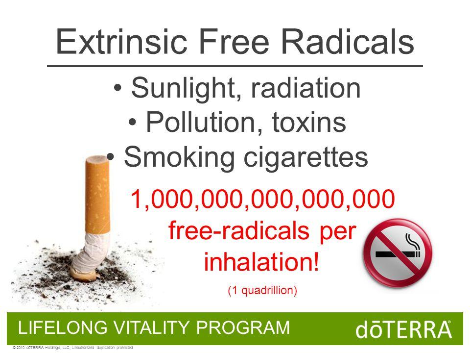 Extrinsic Free Radicals Sunlight, radiation Pollution, toxins Smoking cigarettes 1,000,000,000,000,000 free-radicals per inhalation! (1 quadrillion) L