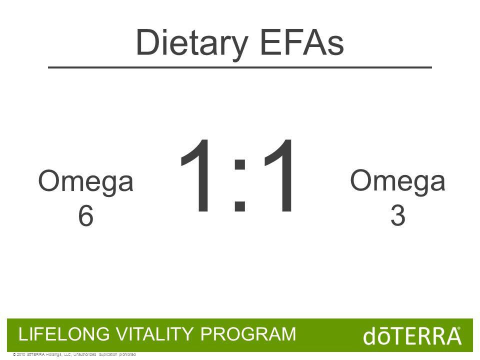 Omega 6 Omega 3 1:1 LIFELONG VITALITY PROGRAM © 2010 dōTERRA Holdings, LLC, Unauthorized duplication prohibited Dietary EFAs