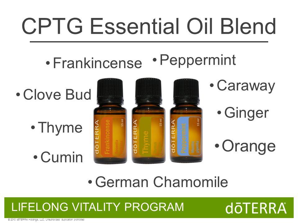 LIFELONG VITALITY PROGRAM © 2010 dōTERRA Holdings, LLC, Unauthorized duplication prohibited CPTG Essential Oil Blend Clove Bud German Chamomile Thyme