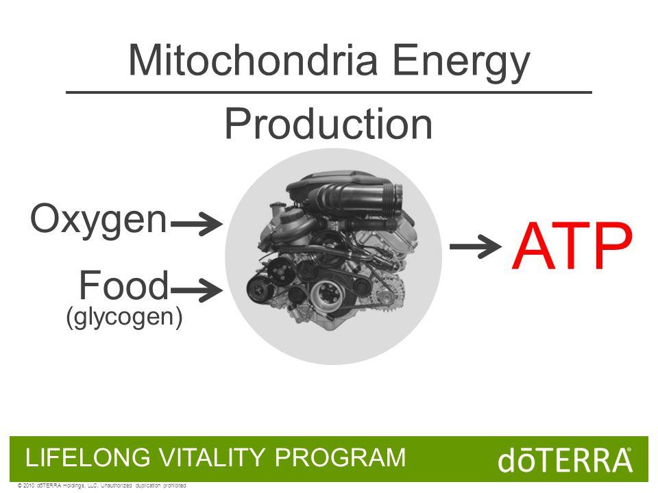 Oxygen Food (glycogen) ATP Mitochondria Energy Production LIFELONG VITALITY PROGRAM © 2010 dōTERRA Holdings, LLC, Unauthorized duplication prohibited