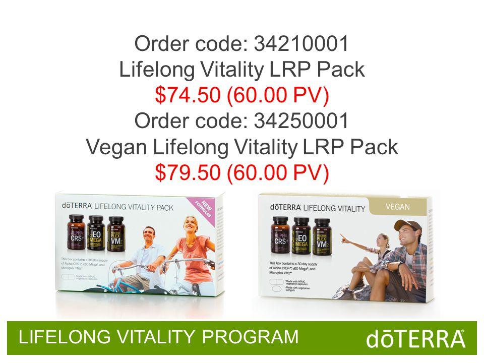 Order code: 34210001 Lifelong Vitality LRP Pack $74.50 (60.00 PV) Order code: 34250001 Vegan Lifelong Vitality LRP Pack $79.50 (60.00 PV) LIFELONG VITALITY PROGRAM