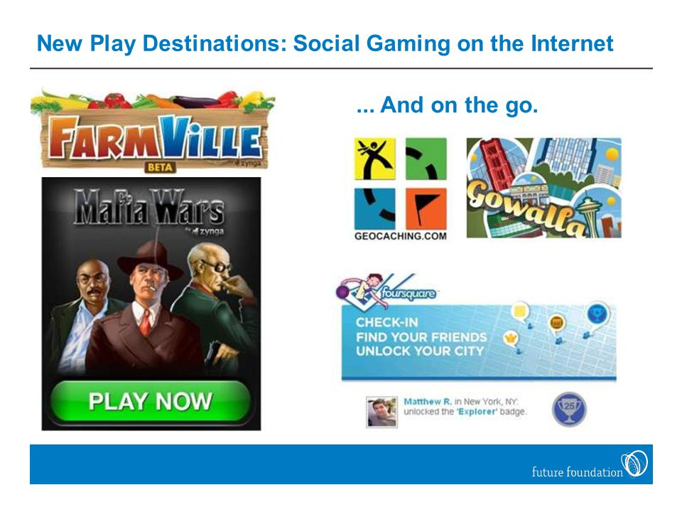 New Play Destinations: Social Gaming on the Internet... And on the go.