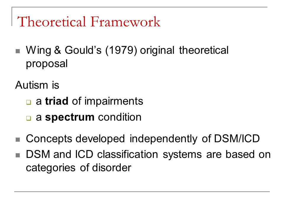 Theoretical Framework Wing & Gould's (1979) original theoretical proposal Autism is  a triad of impairments  a spectrum condition Concepts developed independently of DSM/ICD DSM and ICD classification systems are based on categories of disorder
