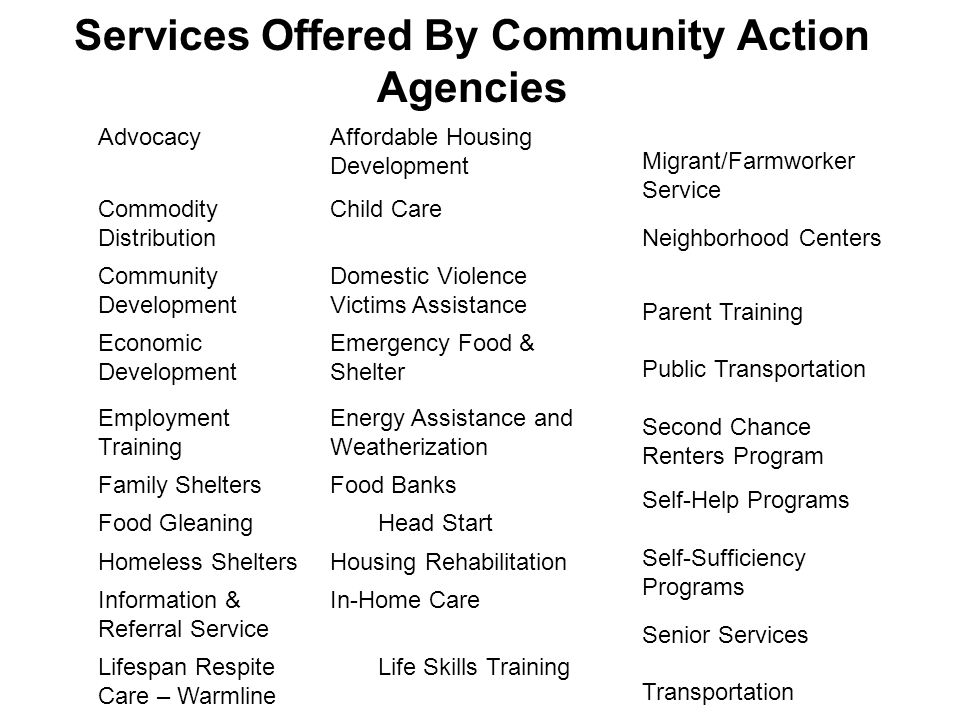 Services Offered By Community Action Agencies AdvocacyAffordable Housing Development Commodity Distribution Child Care Community Development Domestic