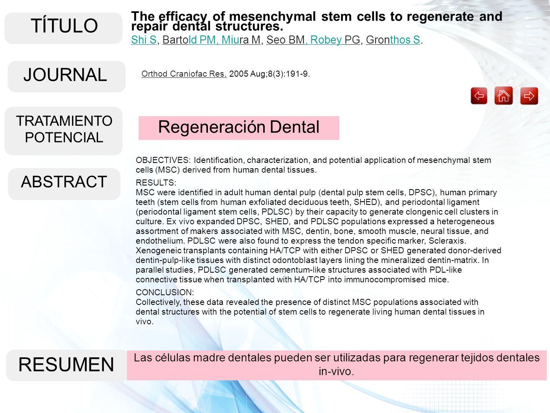 TÍTULO ABSTRACT RESUMEN Las células madre dentales pueden ser utilizadas para regenerar tejidos dentales in-vivo. Regeneración Dental The efficacy of