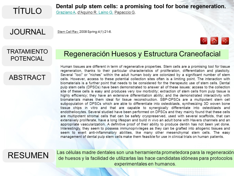 TÍTULO ABSTRACT RESUMEN Las células madre dentales son una herramienta prometedora para la regeneración de huesos y la facilidad de utilizarlas las ha
