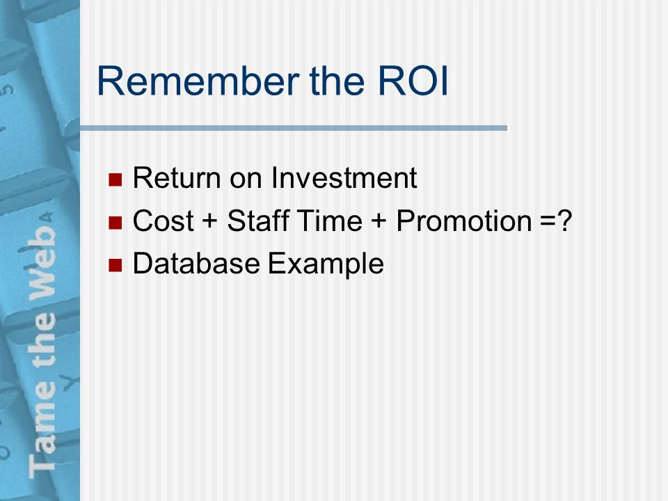 Remember the ROI Return on Investment Cost + Staff Time + Promotion =? Database Example