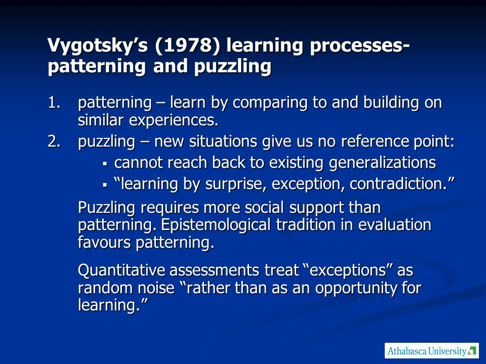 Vygotsky's (1978) learning processes- patterning and puzzling 1.patterning – learn by comparing to and building on similar experiences.