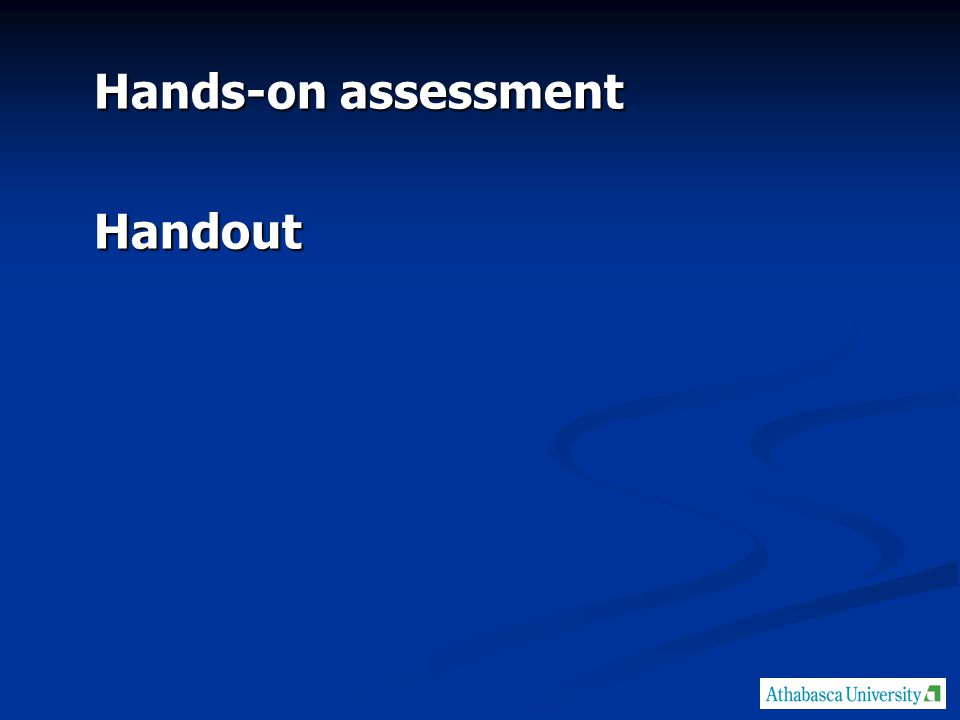 Hands-on assessment Handout