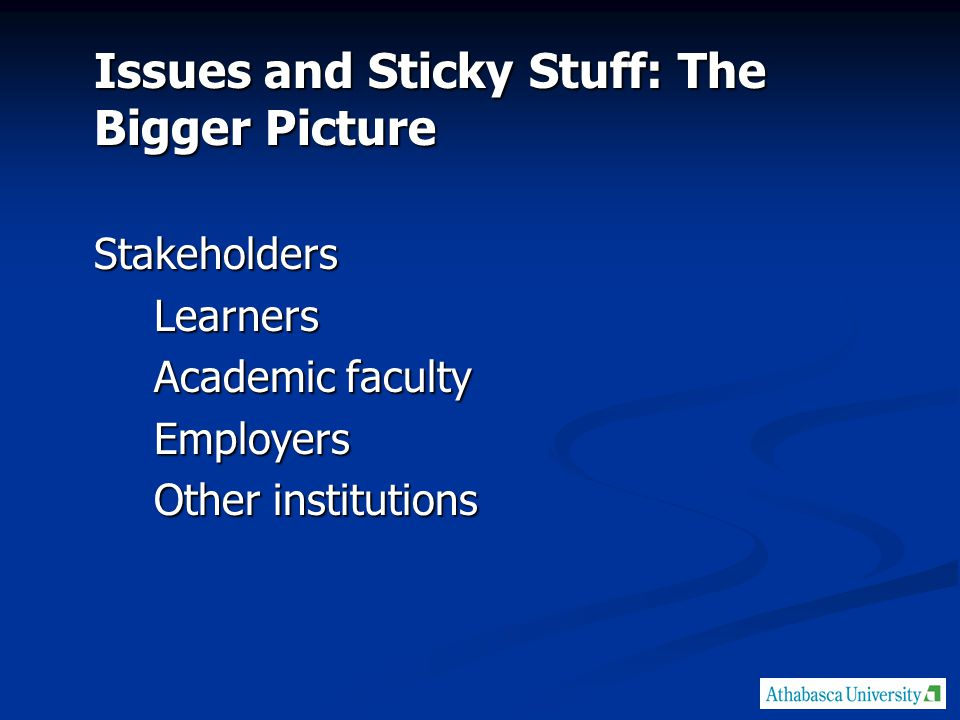 Issues and Sticky Stuff: The Bigger Picture StakeholdersLearners Academic faculty Employers Other institutions