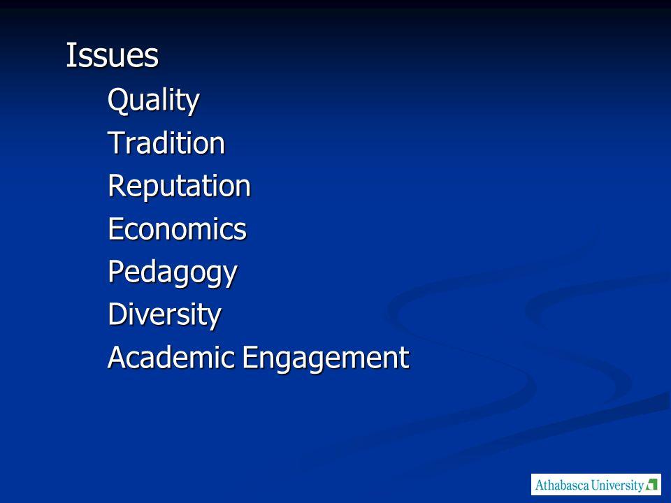 IssuesQualityTraditionReputationEconomicsPedagogyDiversity Academic Engagement