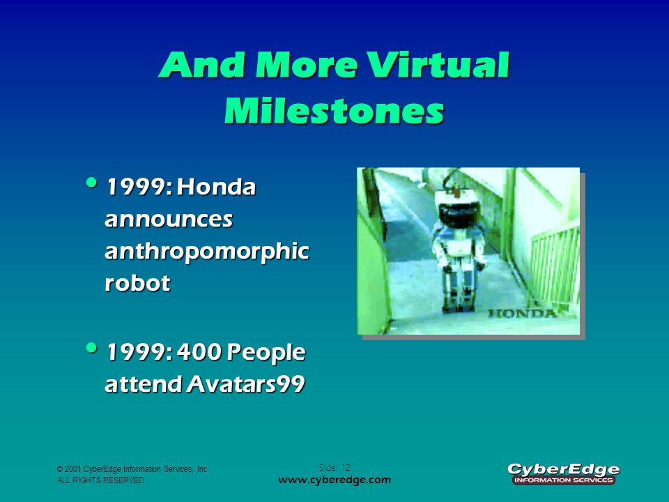 © 2001 CyberEdge Information Services, Inc. ALL RIGHTS RESERVED Slide: 12 www.cyberedge.com And More Virtual Milestones 1999: Honda announces anthropo