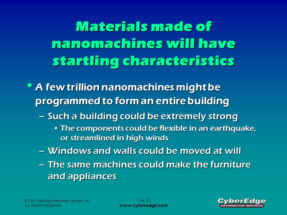 © 2001 CyberEdge Information Services, Inc. ALL RIGHTS RESERVED Slide: 32 www.cyberedge.com Materials made of nanomachines will have startling charact