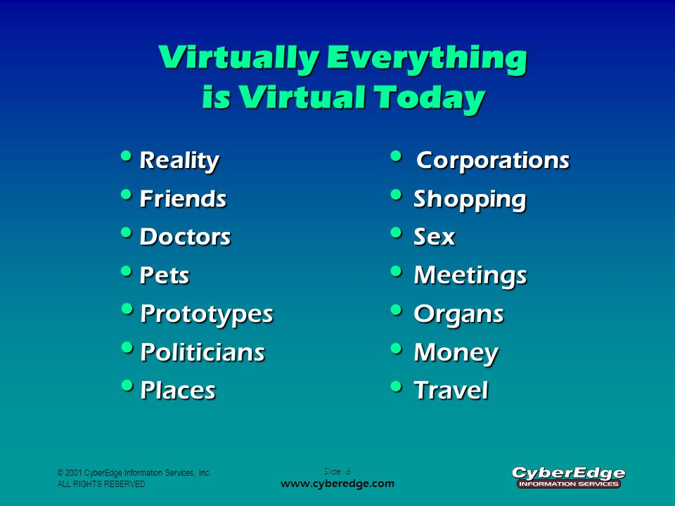 © 2001 CyberEdge Information Services, Inc. ALL RIGHTS RESERVED Slide: 6 www.cyberedge.com Virtually Everything is Virtual Today Reality Corporations
