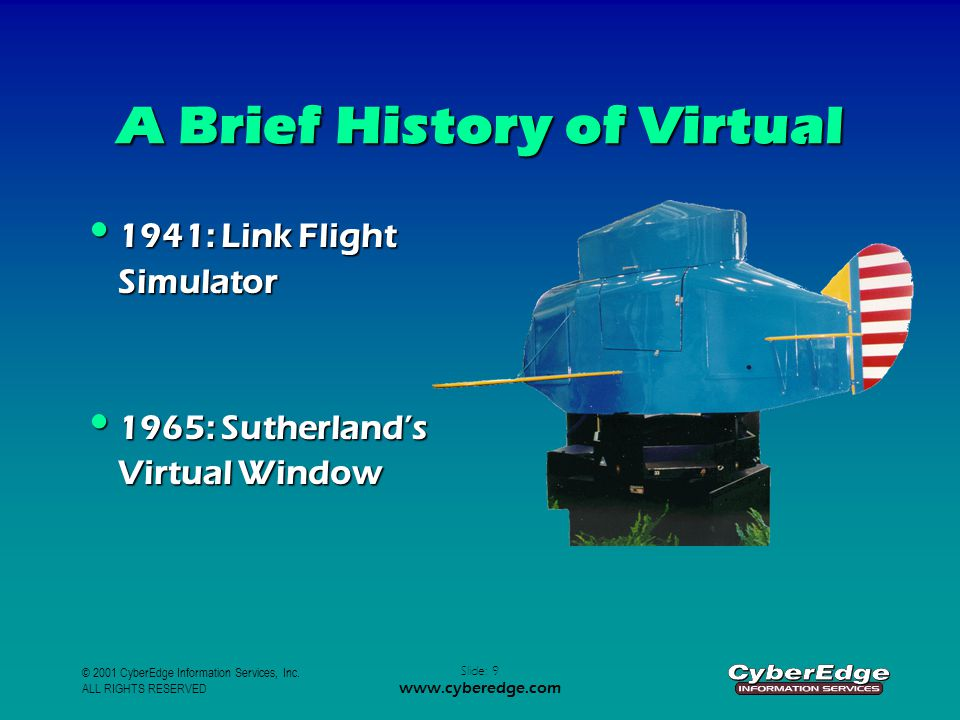 © 2001 CyberEdge Information Services, Inc. ALL RIGHTS RESERVED Slide: 9 www.cyberedge.com A Brief History of Virtual 1941: Link Flight Simulator 1941