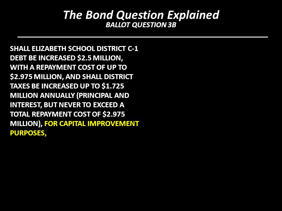 SHALL ELIZABETH SCHOOL DISTRICT C-1 DEBT BE INCREASED $2.5 MILLION, WITH A REPAYMENT COST OF UP TO $2.975 MILLION, AND SHALL DISTRICT TAXES BE INCREASED UP TO $1.725 MILLION ANNUALLY (PRINCIPAL AND INTEREST, BUT NEVER TO EXCEED A TOTAL REPAYMENT COST OF $2.975 MILLION), FOR CAPITAL IMPROVEMENT PURPOSES, The Bond Question Explained BALLOT QUESTION 3B
