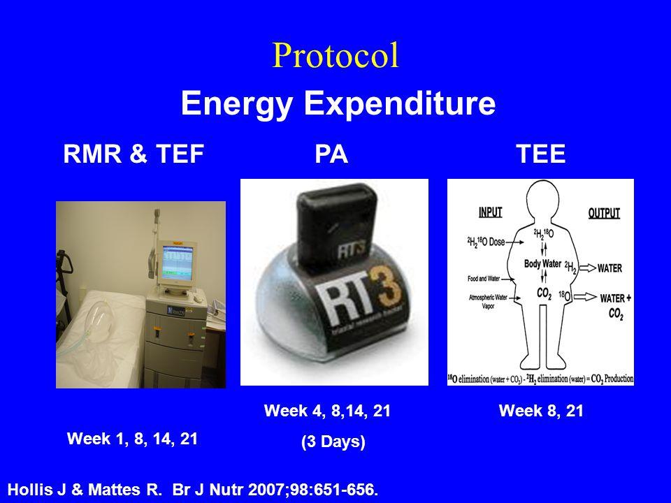Protocol Week 1, 8, 14, 21 Energy Expenditure RMR & TEFTEEPA Week 4, 8,14, 21 (3 Days) Week 8, 21 Hollis J & Mattes R.