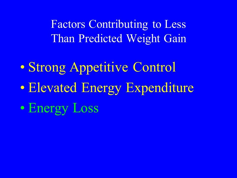 Factors Contributing to Less Than Predicted Weight Gain Strong Appetitive Control Elevated Energy Expenditure Energy Loss