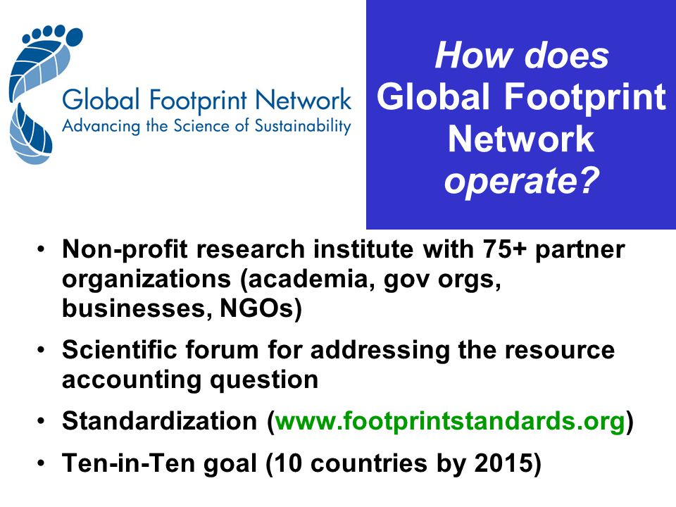 How does Global Footprint Network operate.