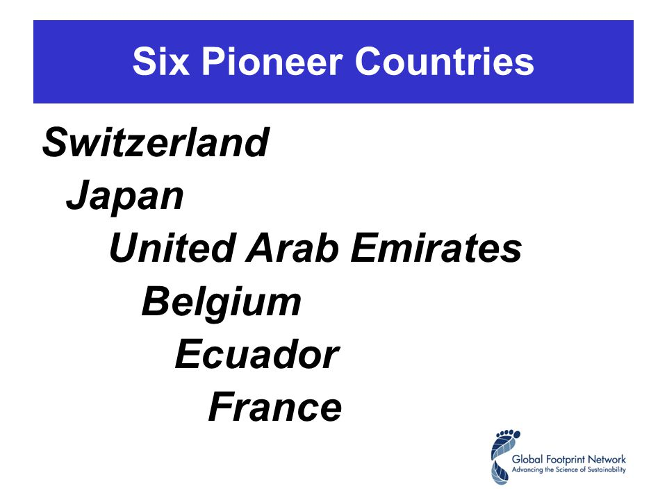 Six Pioneer Countries Switzerland Japan United Arab Emirates Belgium Ecuador France