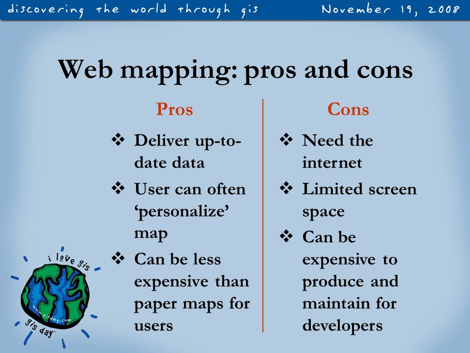 Web mapping: pros and cons  Deliver up-to- date data  User can often 'personalize' map  Can be less expensive than paper maps for users ProsCons  Need the internet  Limited screen space  Can be expensive to produce and maintain for developers