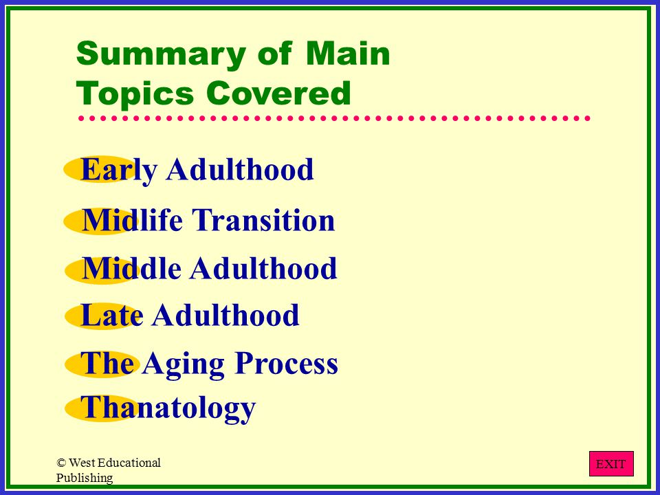 © West Educational Publishing Summary of Main Topics Covered Early Adulthood Midlife Transition Middle Adulthood Late Adulthood The Aging Process Thanatology EXIT