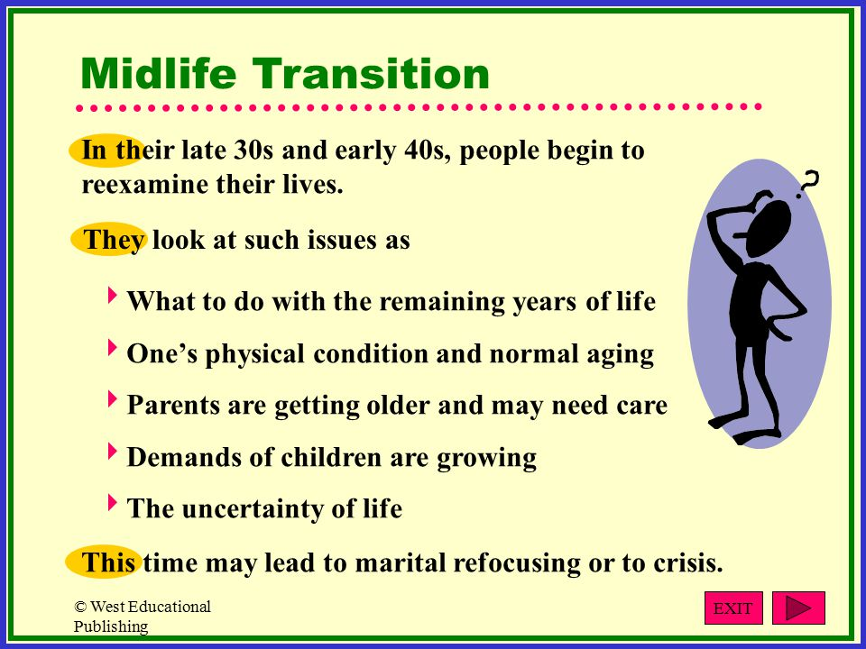 © West Educational Publishing Midlife Transition In their late 30s and early 40s, people begin to reexamine their lives.