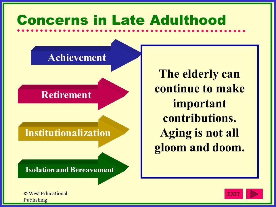 © West Educational Publishing Concerns in Late Adulthood The elderly can continue to make important contributions.