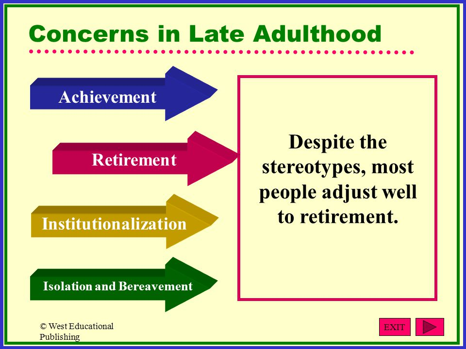 © West Educational Publishing Concerns in Late Adulthood Despite the stereotypes, most people adjust well to retirement.