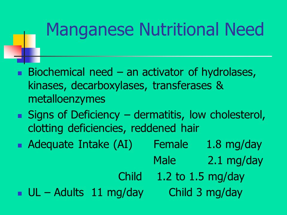 Manganese Nutritional Need Biochemical need – an activator of hydrolases, kinases, decarboxylases, transferases & metalloenzymes Signs of Deficiency – dermatitis, low cholesterol, clotting deficiencies, reddened hair Adequate Intake (AI) Female 1.8 mg/day Male 2.1 mg/day Child 1.2 to 1.5 mg/day UL – Adults 11 mg/day Child 3 mg/day