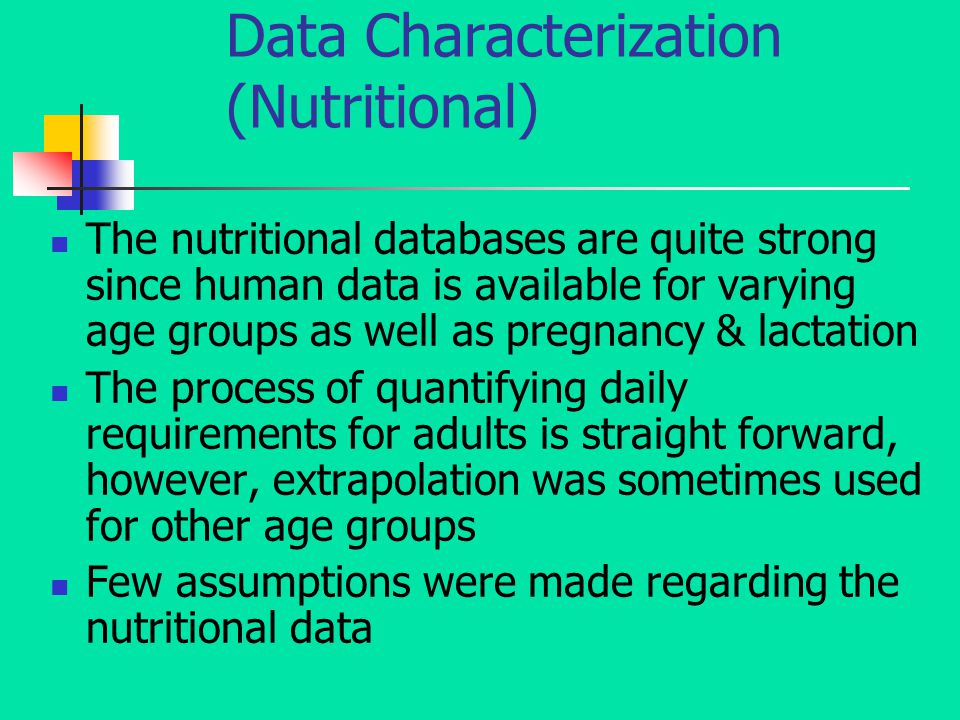 Data Characterization (Nutritional) The nutritional databases are quite strong since human data is available for varying age groups as well as pregnancy & lactation The process of quantifying daily requirements for adults is straight forward, however, extrapolation was sometimes used for other age groups Few assumptions were made regarding the nutritional data