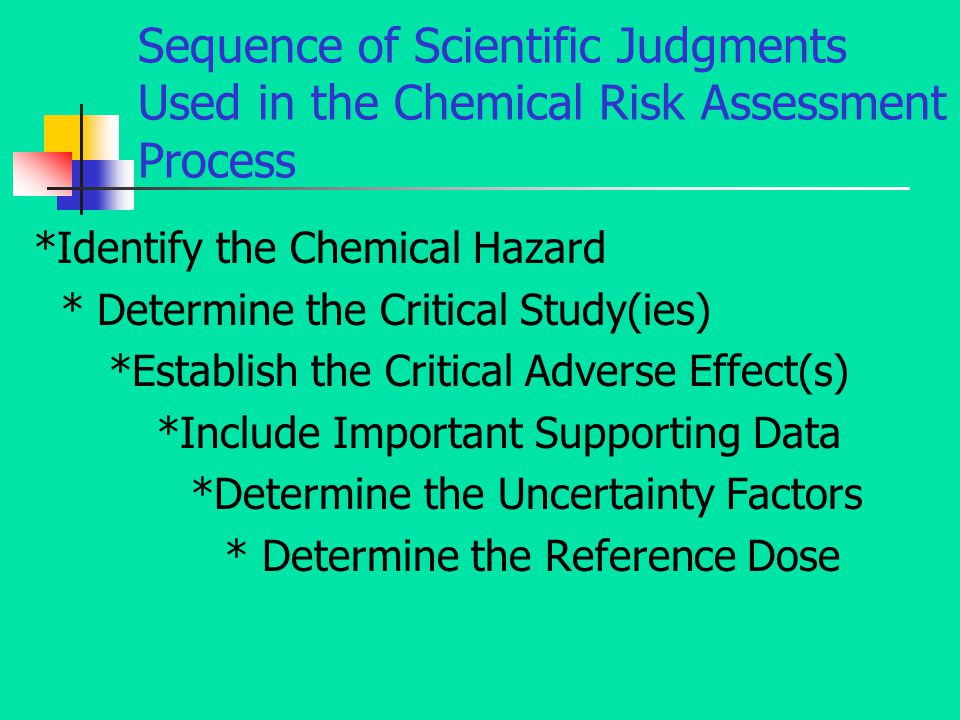 Sequence of Scientific Judgments Used in the Chemical Risk Assessment Process *Identify the Chemical Hazard * Determine the Critical Study(ies) *Establish the Critical Adverse Effect(s) *Include Important Supporting Data *Determine the Uncertainty Factors * Determine the Reference Dose