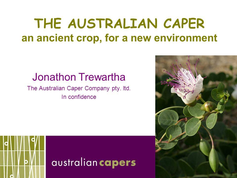 THE AUSTRALIAN CAPER an ancient crop, for a new environment Jonathon Trewartha The Australian Caper Company pty.