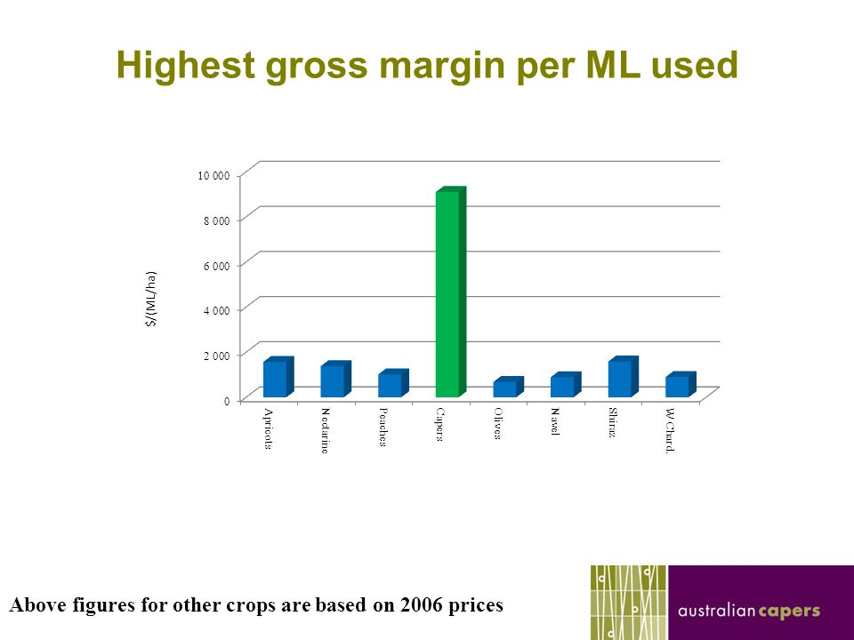 Highest gross margin per ML used Above figures for other crops are based on 2006 prices