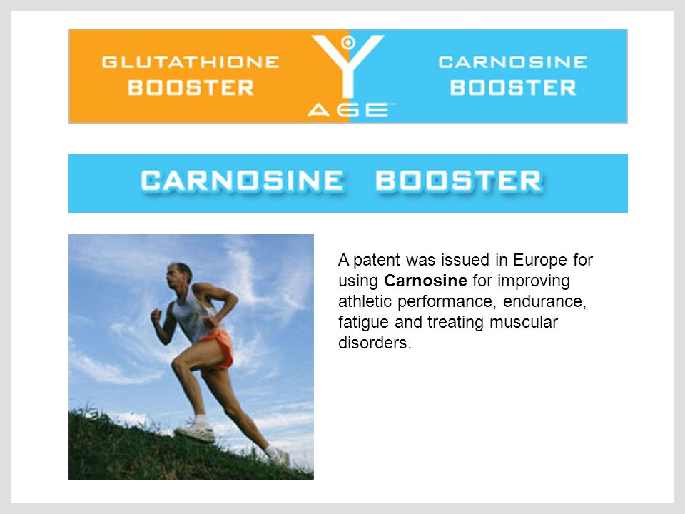 A patent was issued in Europe for using Carnosine for improving athletic performance, endurance, fatigue and treating muscular disorders.