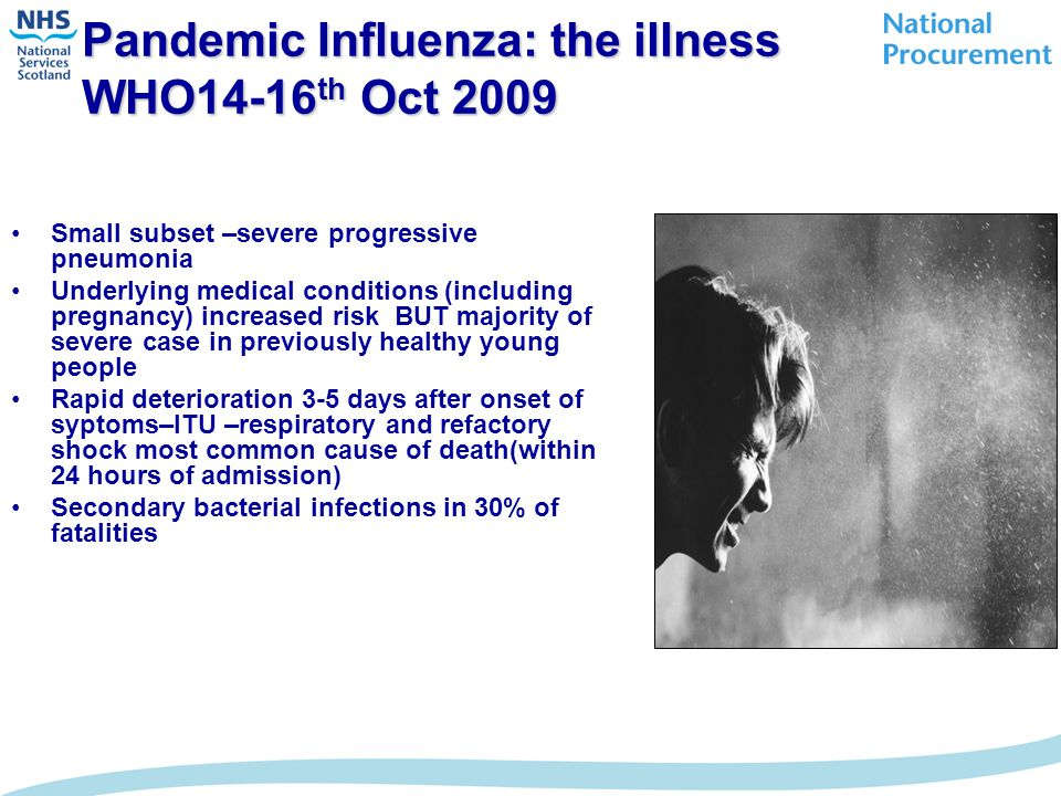 Pandemic Influenza: the illness WHO14-16 th Oct 2009 Small subset –severe progressive pneumonia Underlying medical conditions (including pregnancy) increased risk BUT majority of severe case in previously healthy young people Rapid deterioration 3-5 days after onset of syptoms–ITU –respiratory and refactory shock most common cause of death(within 24 hours of admission) Secondary bacterial infections in 30% of fatalities